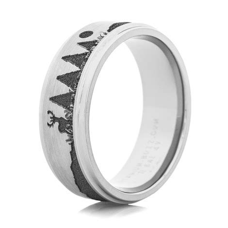 Men's Titanium Carved Bow Hunter Ring   Unique Titanium