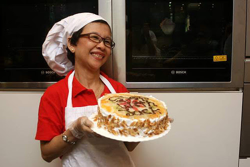 Elizabeth with her Sop with Jack Mousse Cake