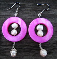 Wire Wrapped Shell and Pearl Wire Earrings