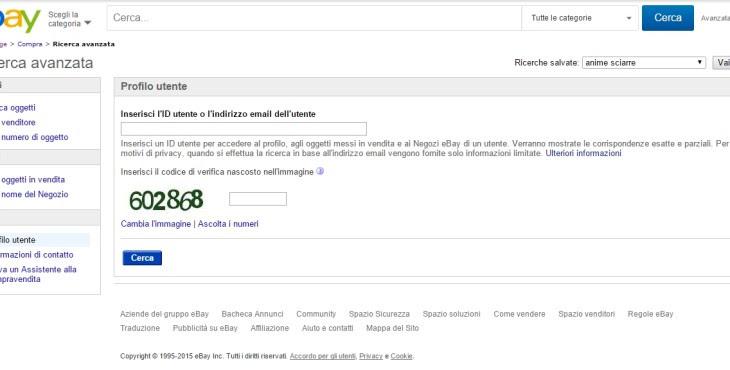 ebay ricerca profilo utente