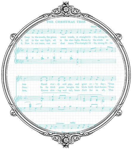 8 Vintage Christmas Sheet Music White & Turquoise -  free printable paper SAMPLE