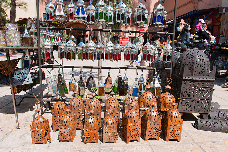 Colourful lanterns for sale in the Marrakech souks, Morocco, North