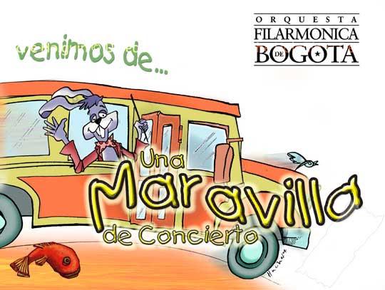 Diseño de mini cartel para El concierto conejo de la Orquesta Filarmónica de Bogotá