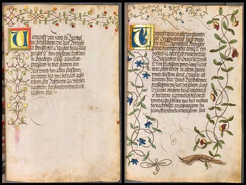 illuminated initials and decorative marginal scroll work