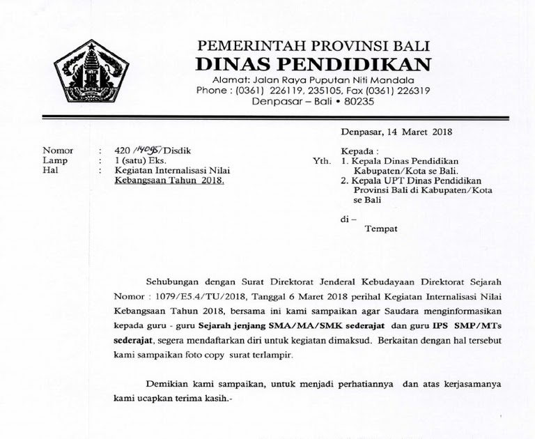 Kop Surat Dinas Pendidikan Provinsi Sumatera Selatan Contoh Seputar Surat