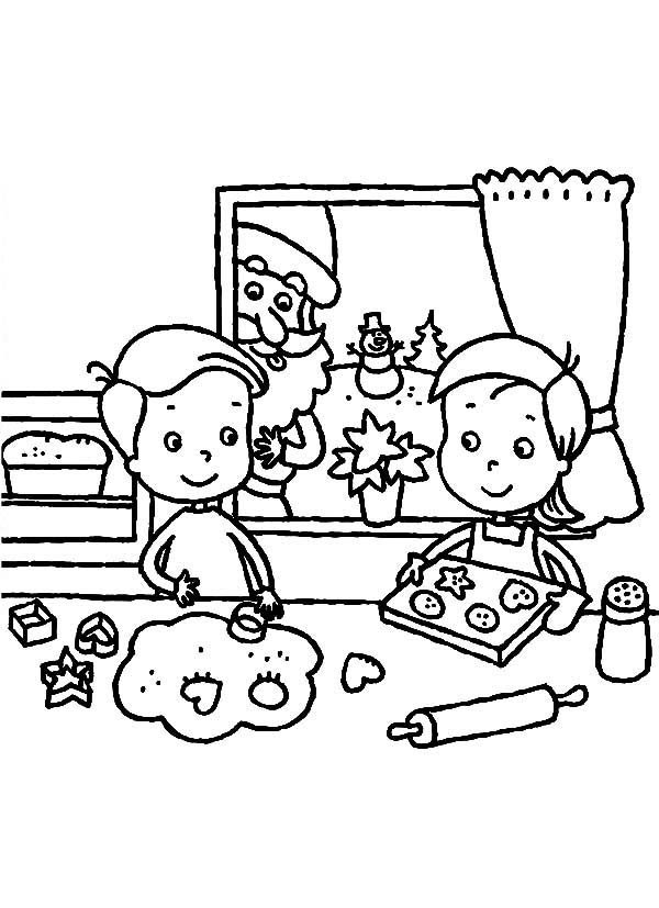 Christmas Cookie Baking Coloring Page Coloring Pages