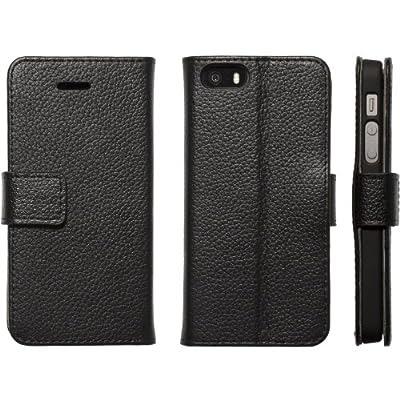 Highend berry 【 iPhone 5 / 5s 】 牛本革 手帳 型 鏡 付き アイフォン レザー ケース オフブラック