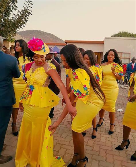 Bride and Bridesmaids In Modern Tsonga Traditional Wedding
