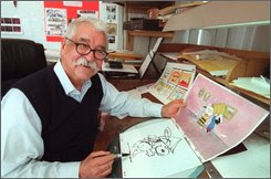 "In this Feb. 18, 2000 file photo, Peanuts animator Bill Melendez is seen here in his Sherman Oaks studio in Los Angeles. Melendez, the animator who gave life to the Peanuts characters in scores of TV specials and movies, including holiday classics such as ""A Charlie Brown Christmas,"" died Tuesday Sept. 2, 2008 in Santa Monica, Calif. (AP Photo/Nick Ut)"