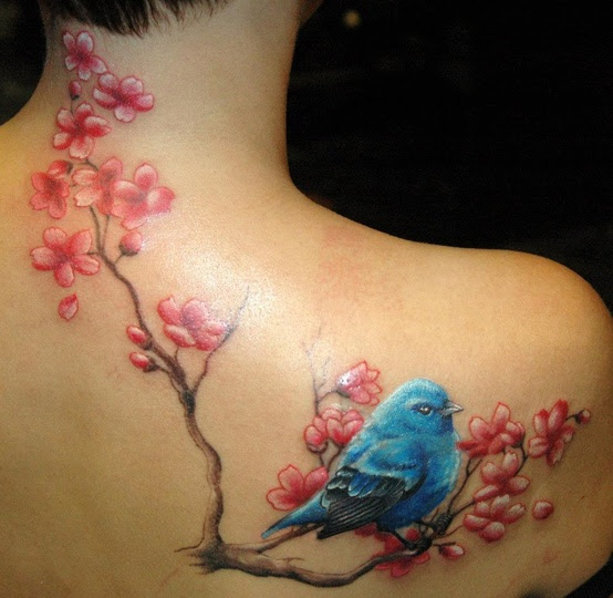 Blue Bird And Cherry Blossom Branch Tattoo Tattoomagz