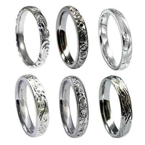 3mm Hand Engraved Wedding Rings 950 Platinum Court Comfort