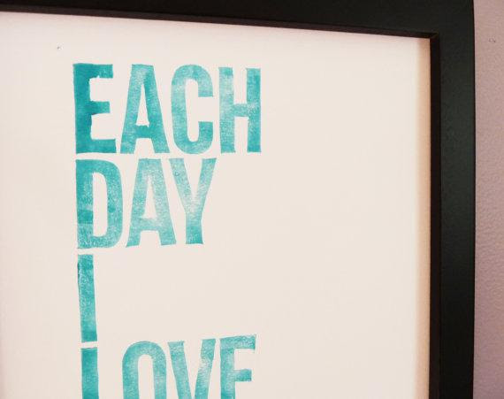 EACH DAY I Love You More Turquoise Handcarved Linocut by inkstomp
