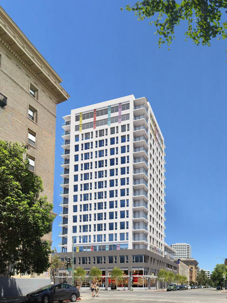 A rendering of a 126-story tower planned at 250 14th St. in Oakland.