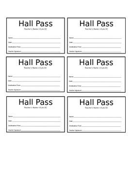 Hall Pass Template by The Physics Guy | Teachers Pay Teachers