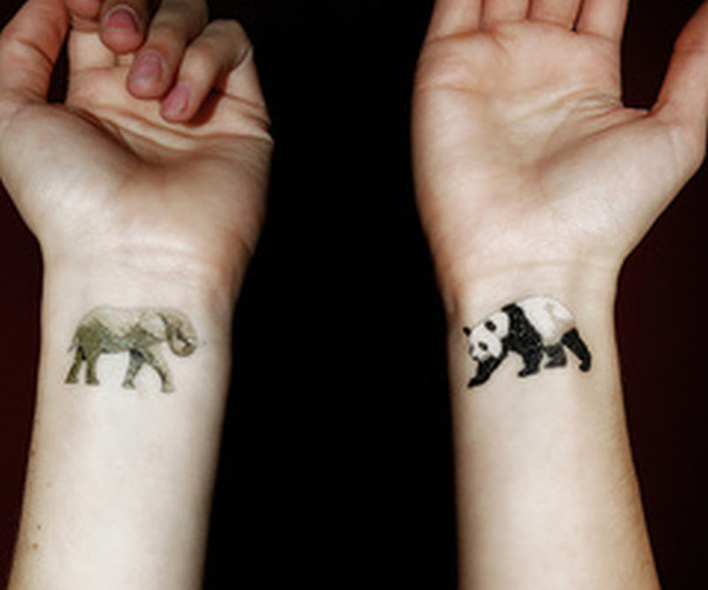 Cute Elephant N Panda Tattoo On Wrist Tattoos Book 65000
