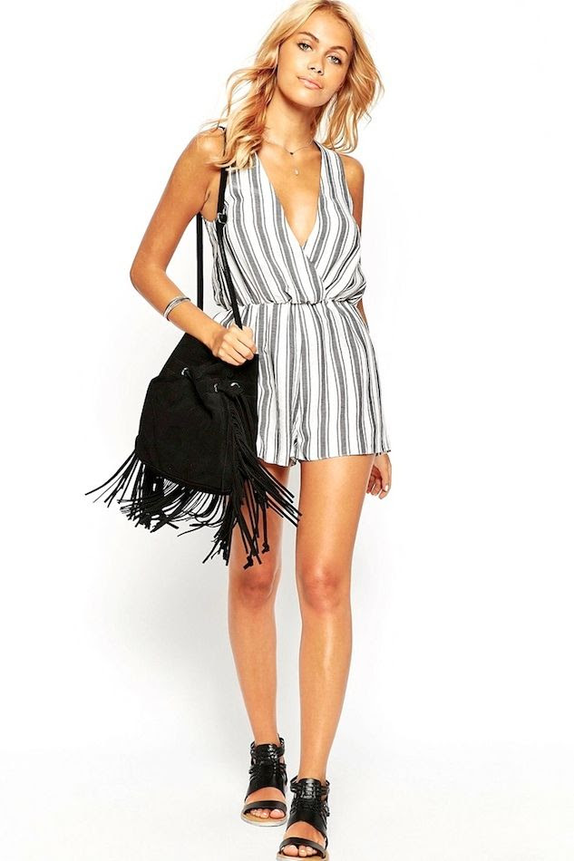 Le Fashion Blog Under 50 Striped Romper Easy Summer Beach Style Fringe Bucket Bag Flat Woven Sandals Festival Style