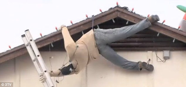 christmas decoration man falling off roof christmas ideas - How To Put Christmas Lights On Roof
