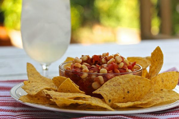 Tomato and Corn Chipotle Salsa with a Meyer Lemon Tom Collins from Karen's Kitchen Stories