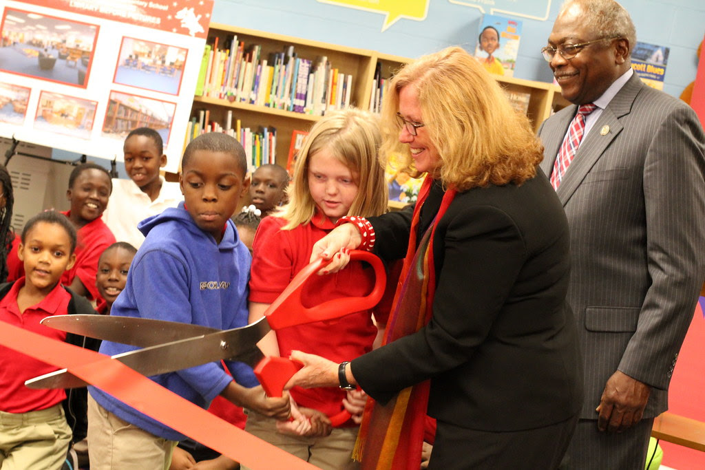 Library makeover at Burns Elem from Target