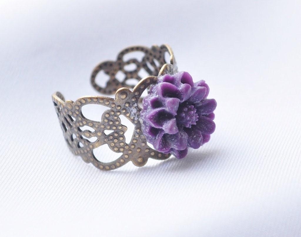 Adjustable brass filigree ring with tiny purple flower