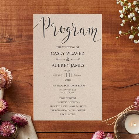 wedding programs  ceremonies receptions vistaprint