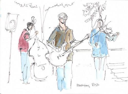 Sketchcrawl 31: Musicians at RISD street market, Providence, RI