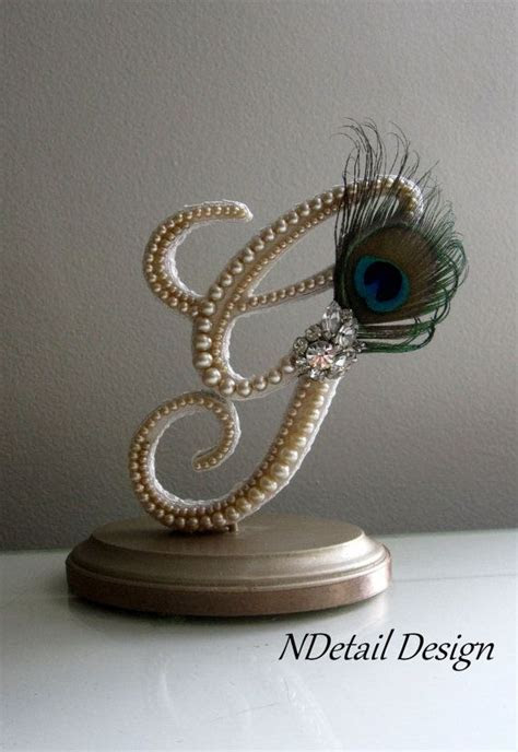 Gatsby and Peacock Wedding Cake Topper & Display by