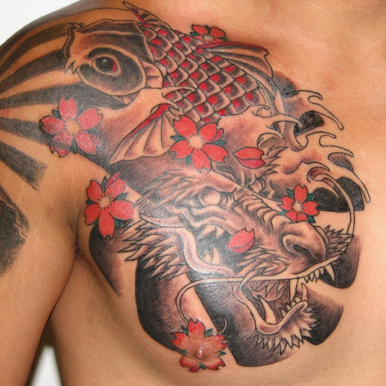 Japanese Dragon Koi And Flower Tattoos On Chest