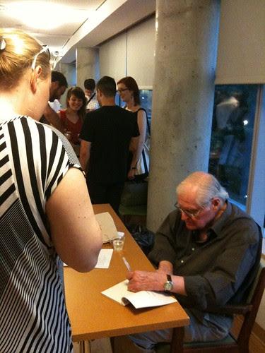 John Ashbery signing books