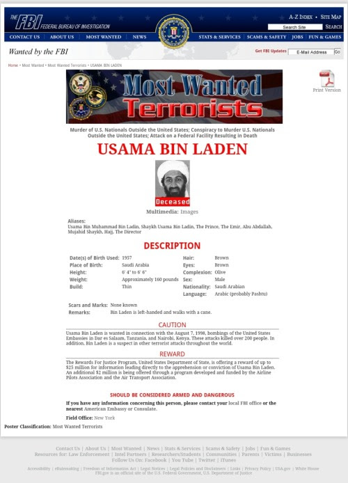 Usama/Osama bin Laden's FBI Most Wanted page Still Doesn't Mention the 911 Attacks