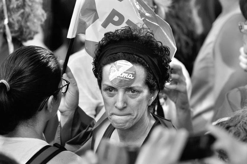 Manifestación en apoyo al ex presidente de Brasil Luiz Inácio Lula da Silva, el viernes en el centro de San Pablo, Brasil. Foto: Nelson Almeida, Afp