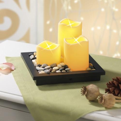 candlemaxx Deko-Tablett mit LED-Kerzen, 5-teilig
