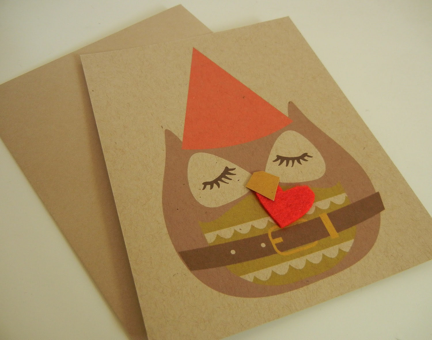 Stewart the Gnome Owl Felt Heart Holiday Christmas Note Card with Envelope