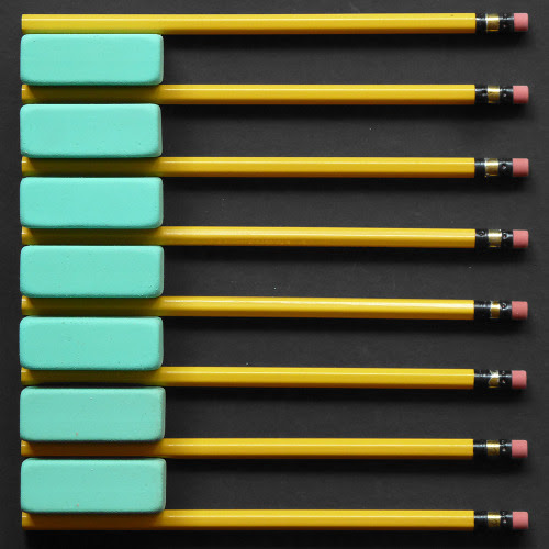 7 RubKleen erasers, 8 Mongol pencils.