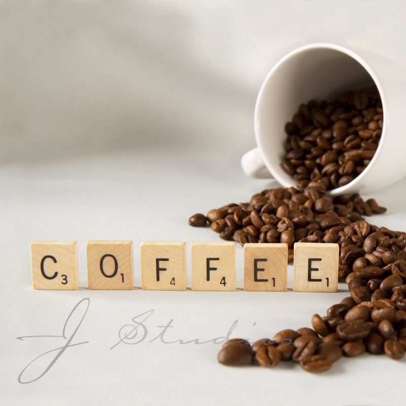Coffee Art Print, Fine Art Photography Print, Beans Scrabble Tiles Cup Mug Express