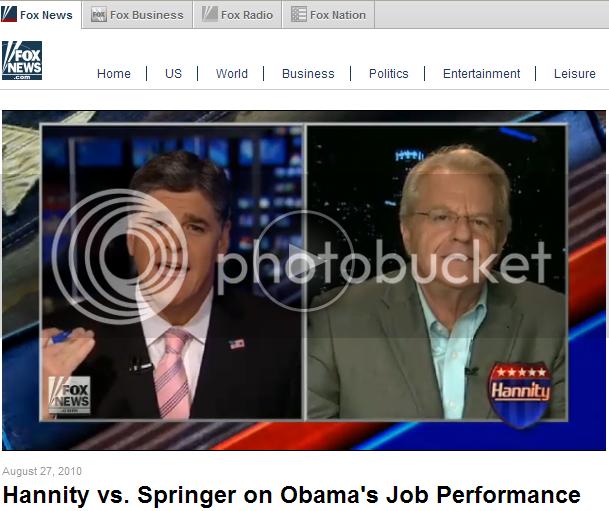 Screen capture: 'Hannity vs. Springer on Obama's Job Performance'