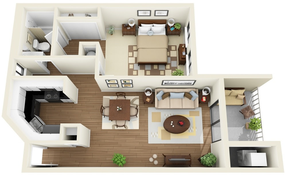 1 Bedroom Apartmenthouse Plans