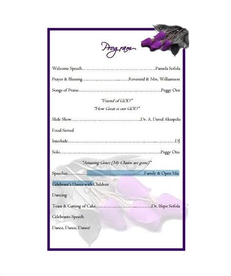 Birthday Program Template   11  Free Word, PDF, PSD, EPS