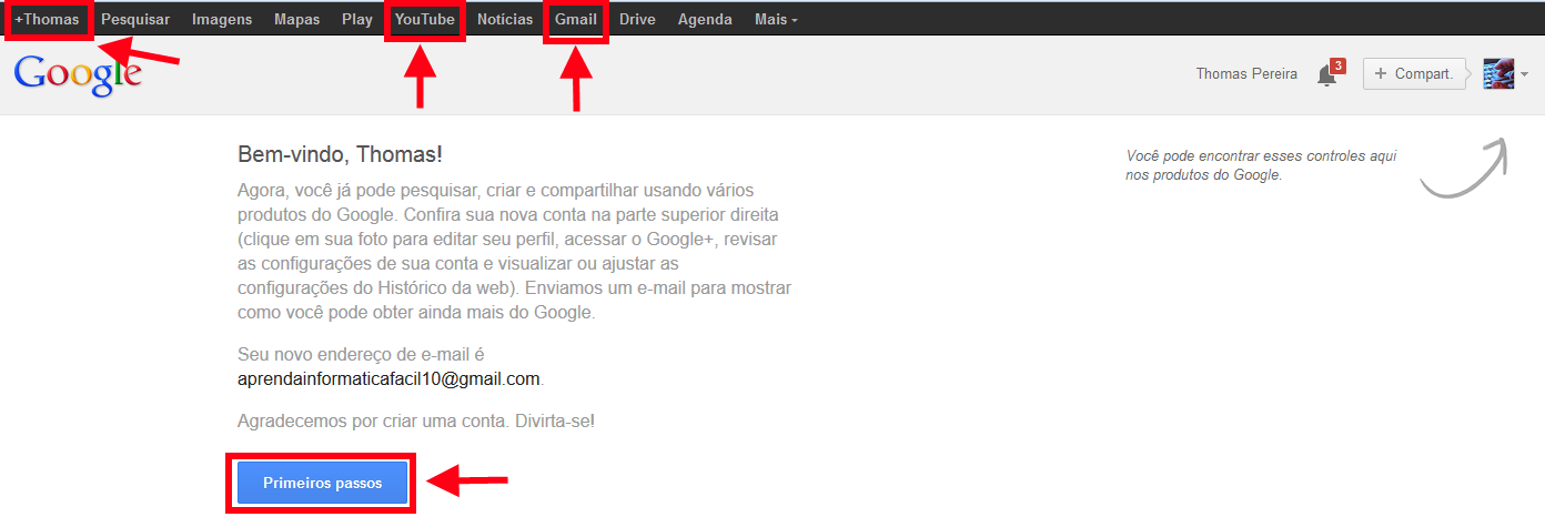 conta do Google criada
