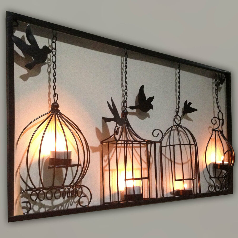 Bree's would be lower so she could reach. BIRDCAGE TEA LIGHT WALL ART METAL WALL HANGING CANDLE ...