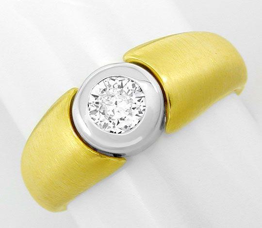 Foto 2, Brillant-Ring 0,33 River 18K-Gelb-Weiss-Gold Luxus! Neu, S6996