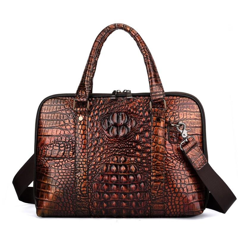 Get Men Genune Leather Briefcase Bolso Hombre Crocodile Business Men Handbags Laptop Computer Bag Bolso Negocios