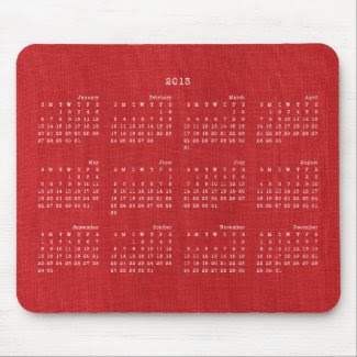 Red Linen Fabric Texture 2013 Calendar Mousepad