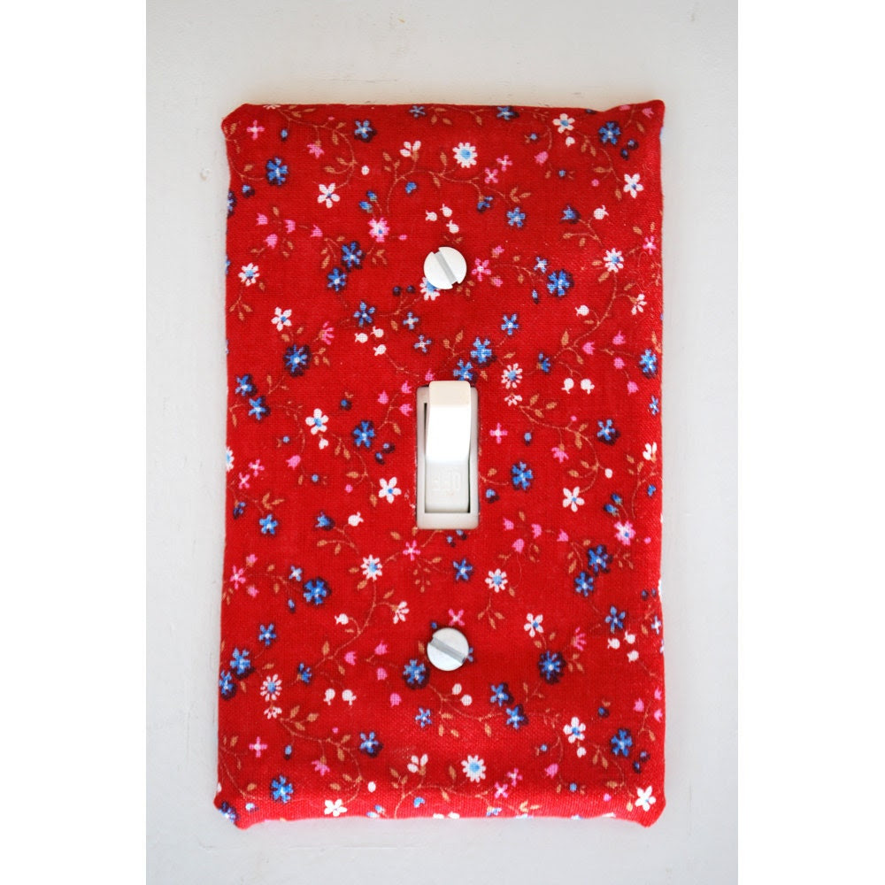 Light Switch Plate Cover - red with multi-colored flowers