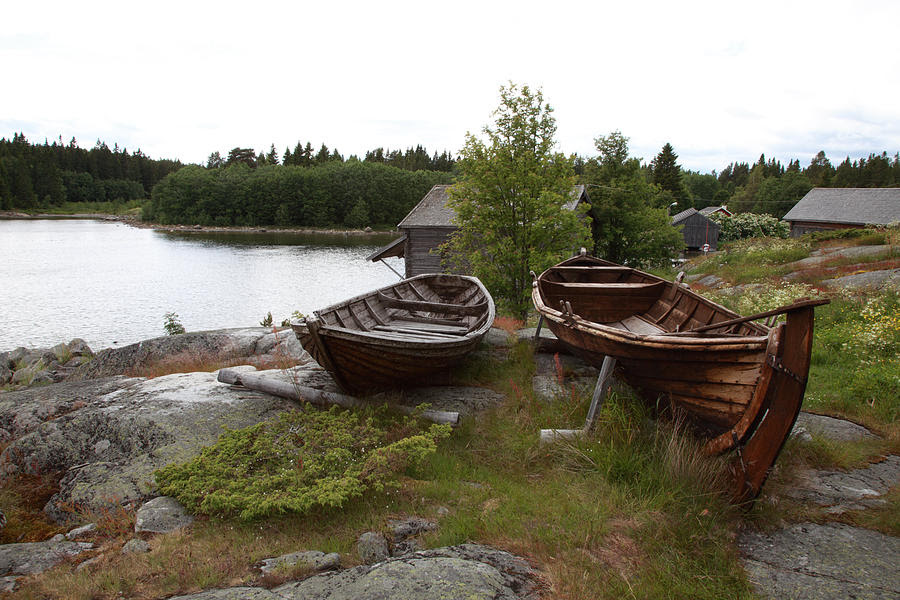 Rowing Boat Photograph - Old Wooden Rowing Boats by Ulrich Kunst And