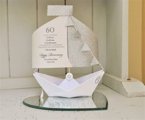 60th diamond wedding anniversary paper boat card by the