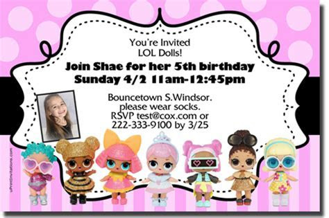LOL Surprise Dolls Birthday Invitations, Candy Wrappers