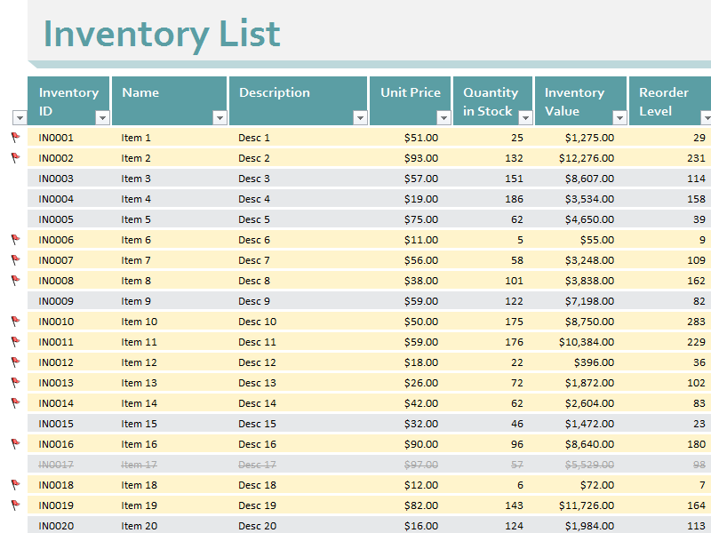 Daily Inventory Sheet Excel