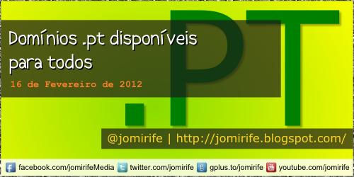 Blog: Domínios .pt disponíveis para todos