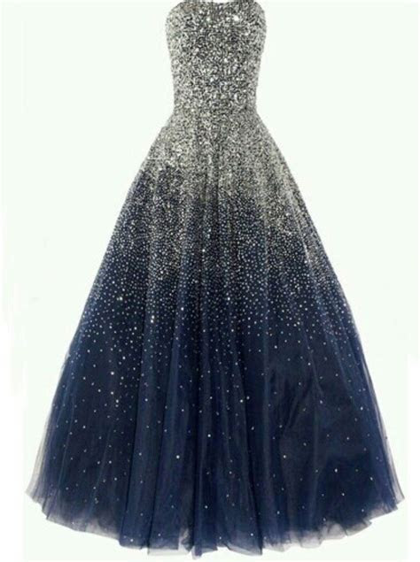 Buy Simple dress Luxurious Strapless Blue Sequined Tulle